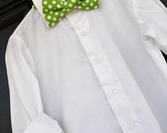 childs bowtie, green bowtie, green polka dot bowtie, bright green bowtie, baby bowtie, toddler bowtie, little boy bowtie, spring bowtie