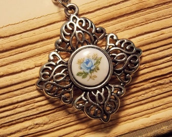 Silver and Blue Victorian Rose Necklace