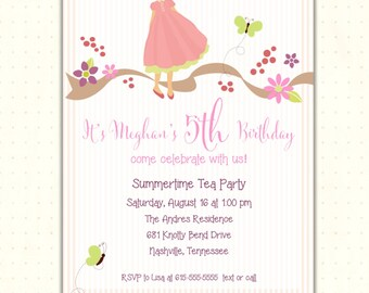 Girls Birthday Invitation | 2nd, 3rd, 4th, 5th | Party | Dress Up Party | Tea Party | Digital | Printable| Invite | G0524