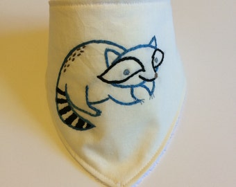 SALE!!! Raccoon Hand Embroidered Bandana Bib