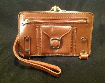 Vintage Leather Brown Wallet With Carry Strap / Multiple Compartments