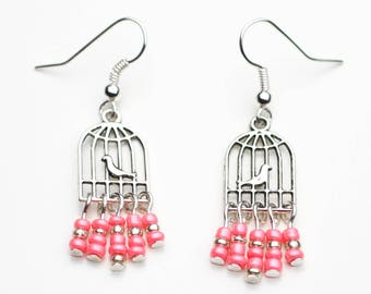 Bird cage earrings gift idea-pink beads