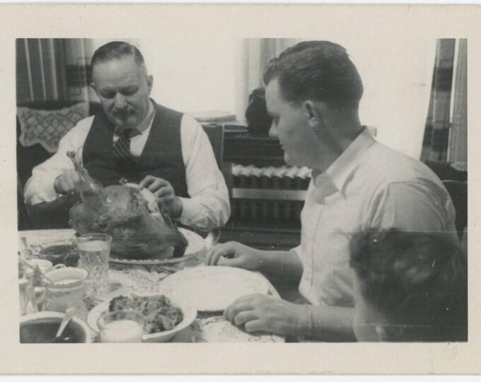 Vintage Snapshot Photo: Carving the Bird (712628)