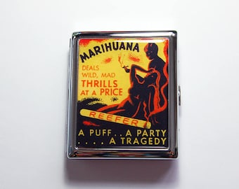 Funny Cigarette Case, Retro cigarette case, cigarette case humor, Medicinal cannabis case, Marijuana case, cigarette box, weed (4883C)