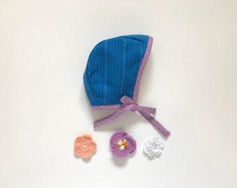 Reversible baby bonnet// baby hat// spring bonnet// loominous stripe// blue and purple// bonnet for girl// modern bonnet// homestead avenue
