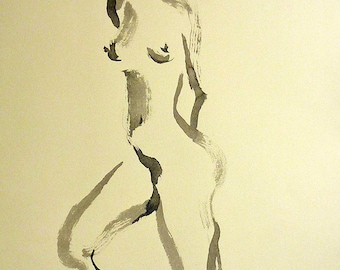 Original Sumi Figure Painting, 25% OFF SALE, unframed, nude, woman, tan paper, large, black ink, female, home decor, wall art, figure, gift