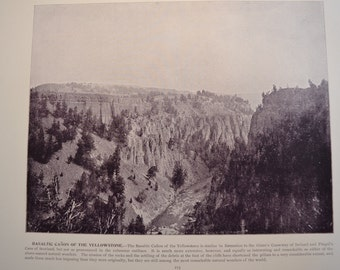 1894 Scenic Photography of America - Grand Canyon of Yellowstone - Landscape Nature Antique Victorian Era Fine Art for Framing 100 Years Old