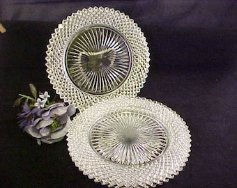 "1930s Miss America 8 1/2"" Clear Salad Plates by Anchor Hocking (4), Diamond Crystal Depression Glass Dessert Plates, Vintage Pressed Glass"