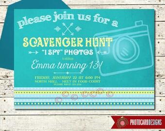 Scavenger Hunt Birthday Invitation, I Spy, Oh Snap, Photo Scavenger Invitation, Tween, Teen, Birthday Invitation, Digital | Print file
