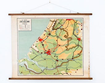 Vintage pull down chart of Zuid-Holland 1931