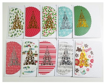 Christmas Tree Cutout 10 Card Set with Matching Envelopes