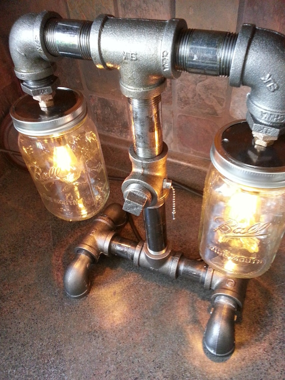 Items Similar To SteamPunk Style Black Iron Pipe Lamp Mason Jar Bar Lamp  Table Lamp On Etsy