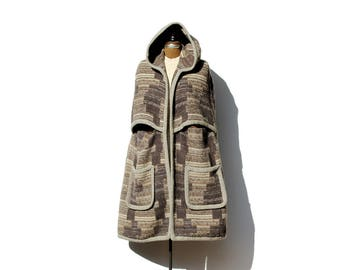 Vintage Multi Brown Pure Wool Hooded Cape Coat