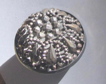 Fantastic Openwork Riveted Cut Steel Twinkle Button With High Dome