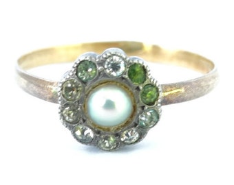 Antique Victorian Ladies Cultured Pearl and Paste Floral Cluster Engagement Ring in 9ct Yellow and Silver FREE POSTAGE