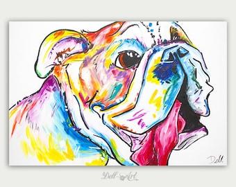 Colorful Art, Custom Dog Paintings, Pet Portrait, Acrylic On canvas, Wall Decor, Home Decor