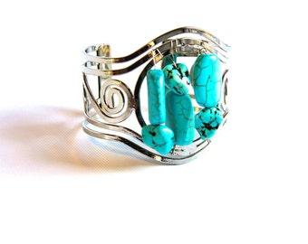 Turquoise Bracelet Cuff  Vintage Style Metalwork silver spiral bracelet Large wrist Open cuff Forged Bracelet Howlite jewelry Boho bracelet