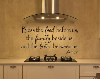 Kitchen Decals   Bless The Food Before Us Wall Decal   Kitchen Vinyl Decal    Bless