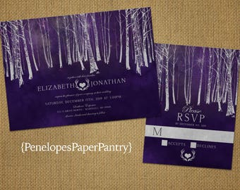 Elegant Rustic Fall Wedding Invitation,Purple,Silver,Forest,Heart,Antlers,Rustic,Simple,Shimmery,Romantic,Printed Invitation,Wedding Set