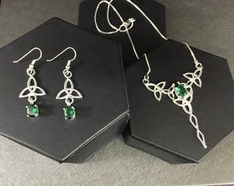 Emerald Irish Bridal Wedding Set, Lab Emerald Sterling Silver Necklace & Earrings, Celtic Earrings, Irish Wedding Set, Victorian Wedding Set