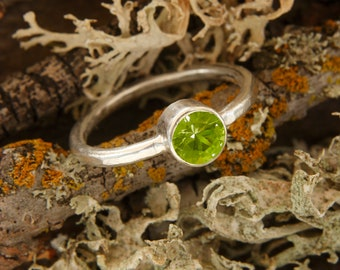 Peridot Solitaire Ring, Sterling Silver, August Birthstone, Made to Order, Recycled Silver, GreenJeweler