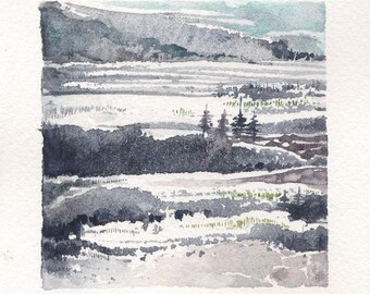 Mini Watercolor Painting Abstract Surreal Landscape - Grey