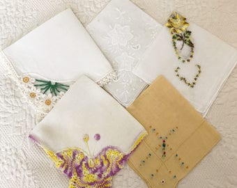 Lovely Vintage Hankies, Summer Collection, Wedding Hankies, Set of 5