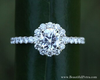 Diamond Engagement Ring  -14K white gold - 1.40 carat - Round - Flower Halo - Pave - Antique Style - Bph033
