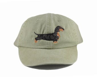 Dachshund embroidered hat, baseball cap, dog lover gift, pet mom cap, dad hat, mom, dog agility, dog lover hat,weiner dog, black doxie