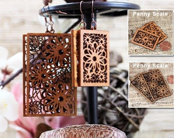 Recycled Woodcut Earrings Rectangular Flower Small and Large laser cut
