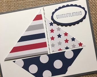 Congratulations Cards / Nautical Cards - Handmade Greeting Cards - Stampin Up Greeting Cards - Personalized Greeting Cards Draft
