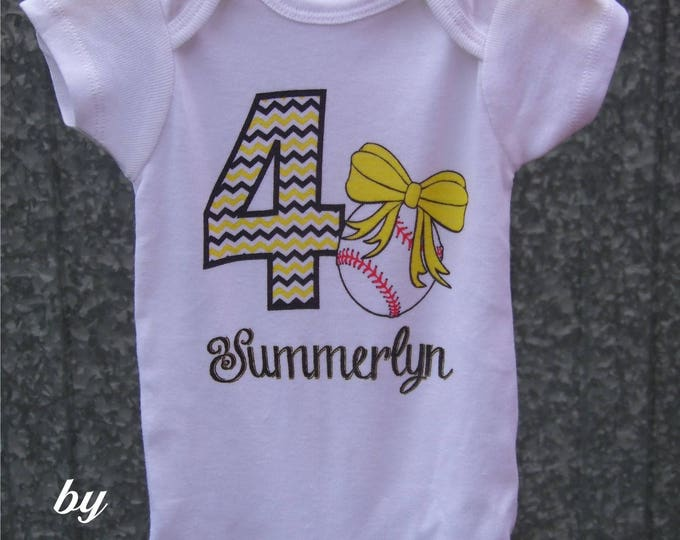 """Personalized Baby Girl's Baseball Onesie with """"Chevron"""" Number, Name, and Print Color of your choice"""