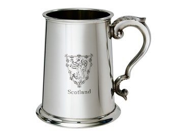 Personalised Lion of Scotland 1 Pint Pewter Tankard - Customised Engraved Message