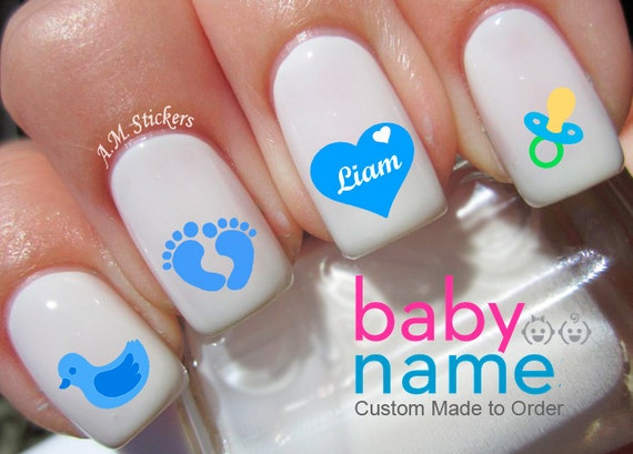 Personalized baby boy name nail decals
