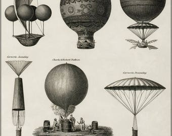 Poster, Many Sizes Available; Early Hot Air Balloons C1818