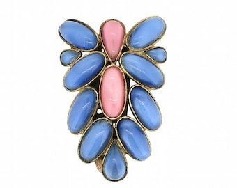 1930s Pink and Blue Glass Cabochon Vintage Dress Clip