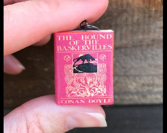 Mini book necklace, Hound of the Baskervilles, Sherlock Holmes, Book Necklace, Doyle, Literary Necklace, gift for book lover