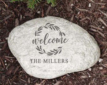 Personalized garden stone etsy engraved wreath welcome garden stone garden decor personalized grey outdoor decor workwithnaturefo