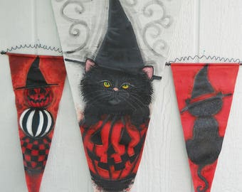 Halloween Porch Decor-Three Halloween Banners Painted Just For You...Black Cat in a WItchy Hat + Stacked Pumpkins + Halloween Kitten