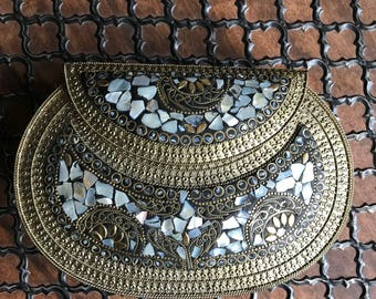 Stunning Gold and Mother of Pearl stone clutch bag / shoulder bag / party and evening purse / Ethnic bag