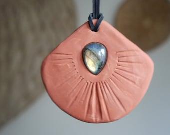 Labradorite Meditative Clay Necklace