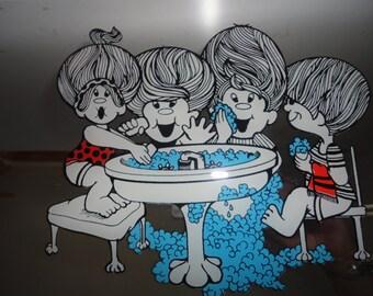 Vintage Unused Brytone Mechanical Mirror Works Inc Bathroom Mirror Kids Bathroom Mirror Bathroom Decor Kids Washing Hands Made in USA