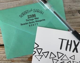 Custom Rubber Stamp Design, CURVED, Return Address, Rubber Stamp, Modern Calligraphy Wood Stamp, Hand Lettered Stamp