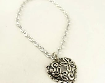 Heart Bracelet, Filigree  Heart Charm Silver Toned  Gift for Her Gift for Mom