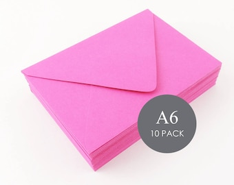 """A6 Euro Flap Envelopes - 4 3/4"""" x 6 1/2"""", Fuchsia , sold in sets of 10"""