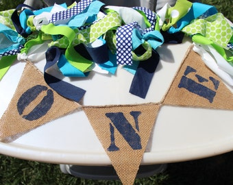 Navy,teal & lime green 1st birthday highchair banner