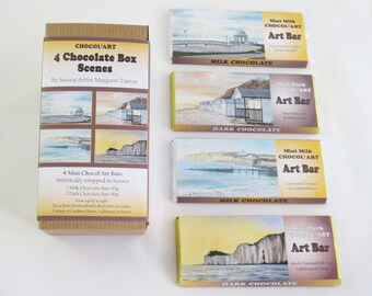 Chocolate Box of 4x40g Bars, Set 2 Chocol'Art designs