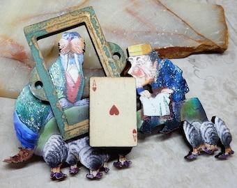 Alice In Wonderland Brooch,  Walrus Brooch, Walrus Jewelry, Alice in Wonderland Jewelry, Walrus and Carpenter, Alice Walrus Carpenter