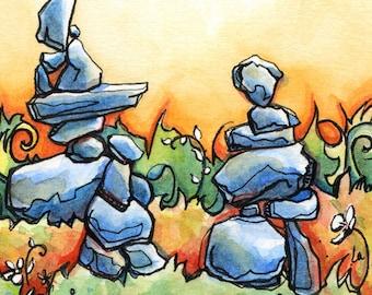 Rock Garden - 8x8 Original Framed Watercolor