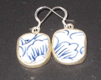 Blue Petals - Upcycled Chinese Pottery Shard Earrings on Sterling Silver Earwires